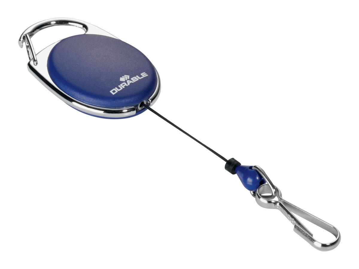 Durable - Enrouleur mousqueton de badge - bleu
