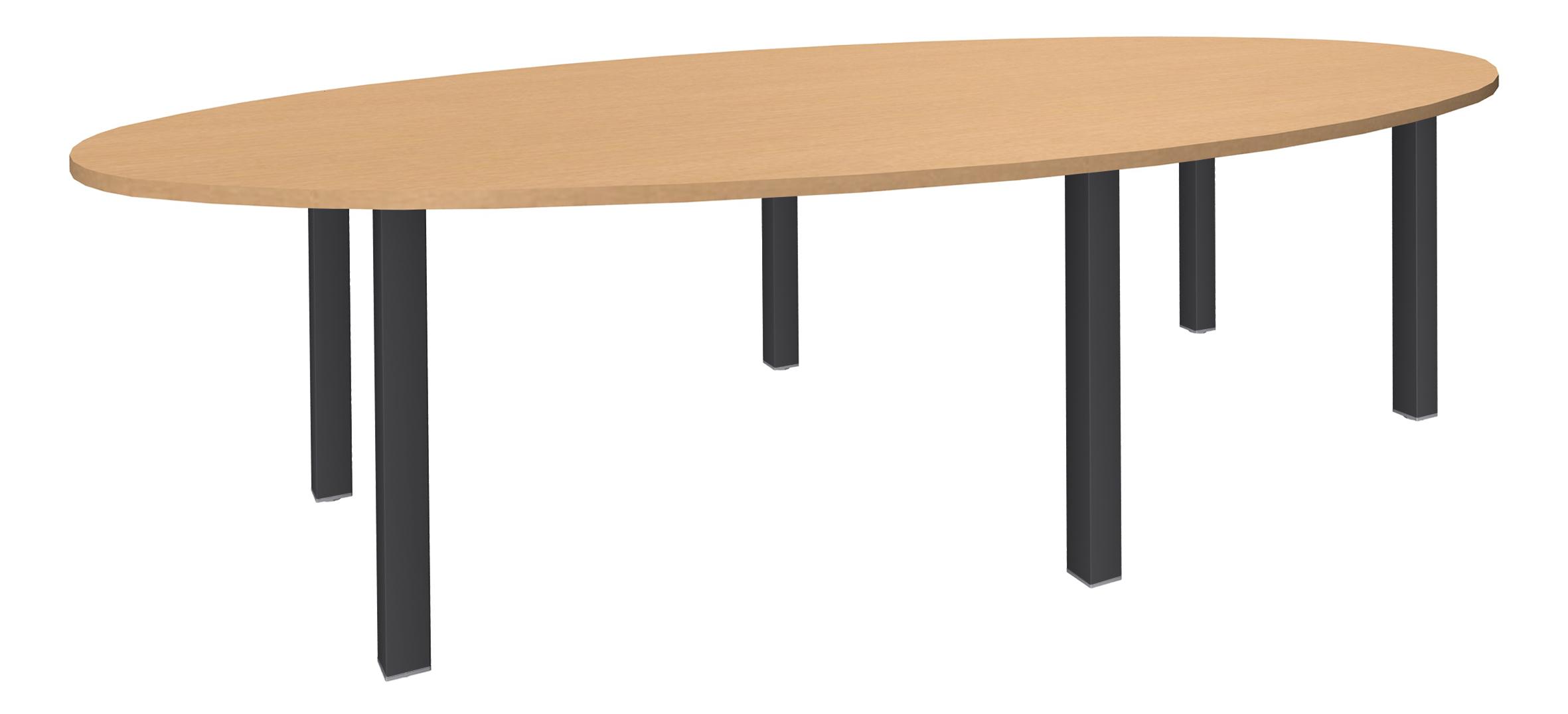 Table de réunion ovale - L280 cm - pieds exprim carbone - Plateau imitation hêtre