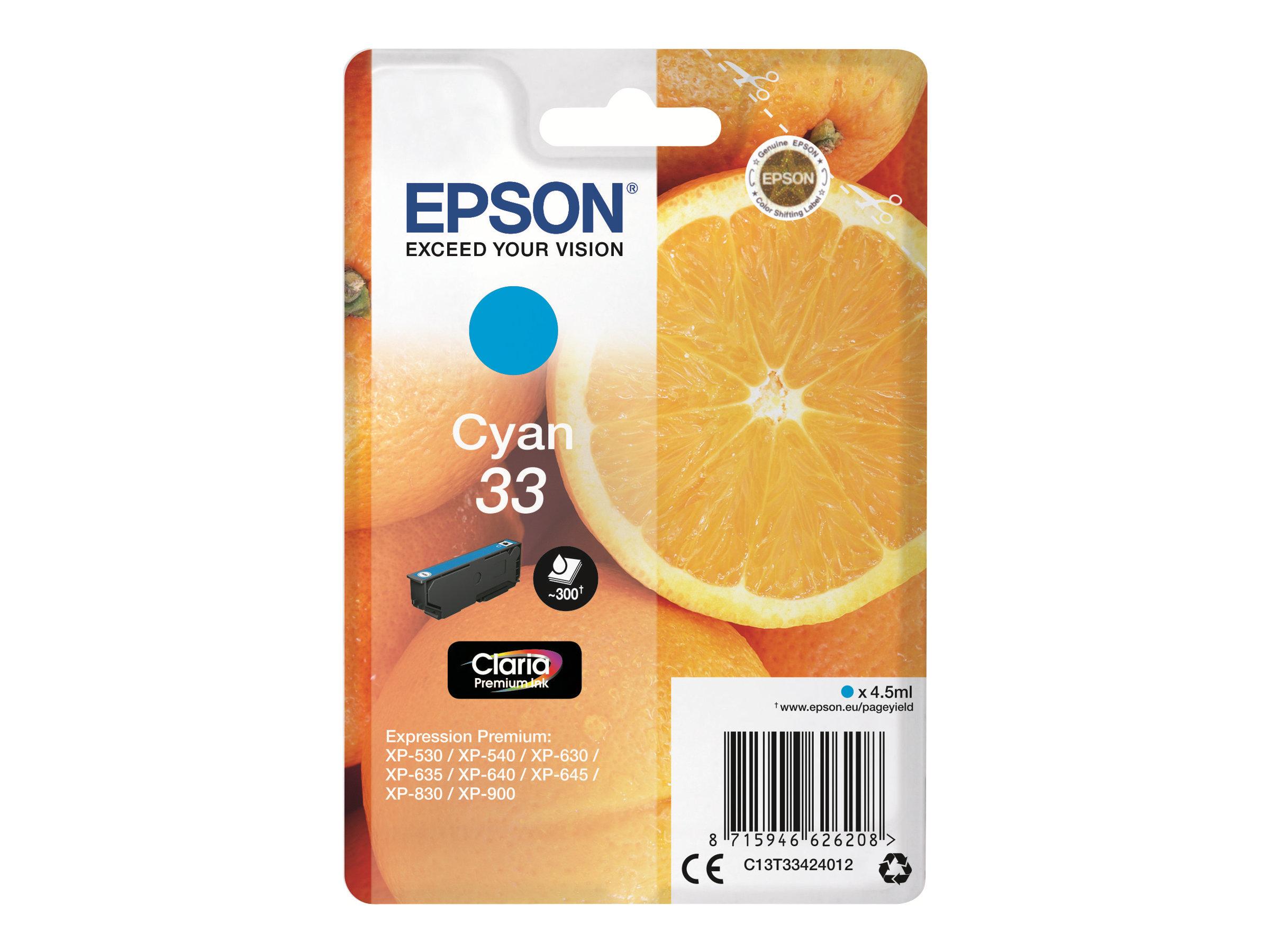 Epson 33 Oranges - cyan - cartouche d'encre originale