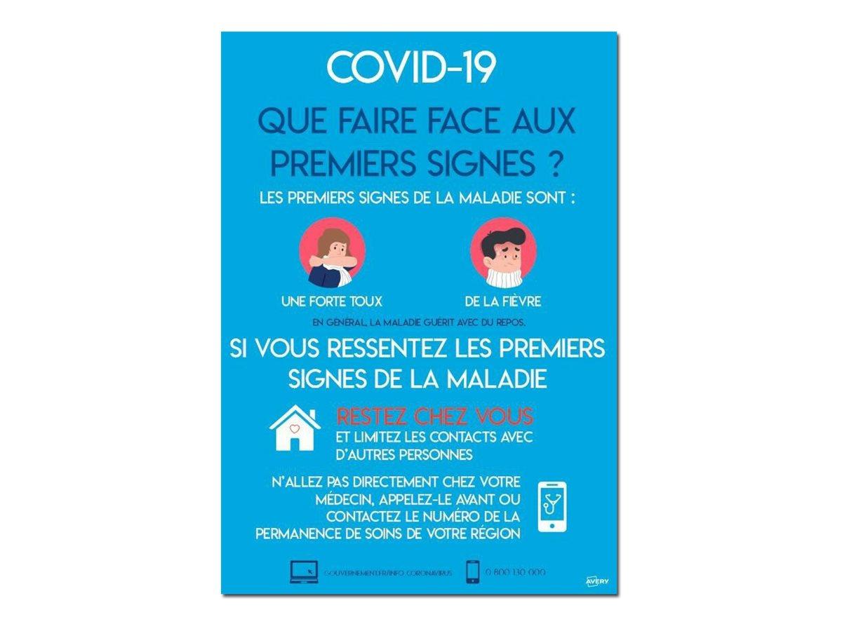 Avery - 2 Affiches de sécurité amovibles A3 - symptômes du COVID