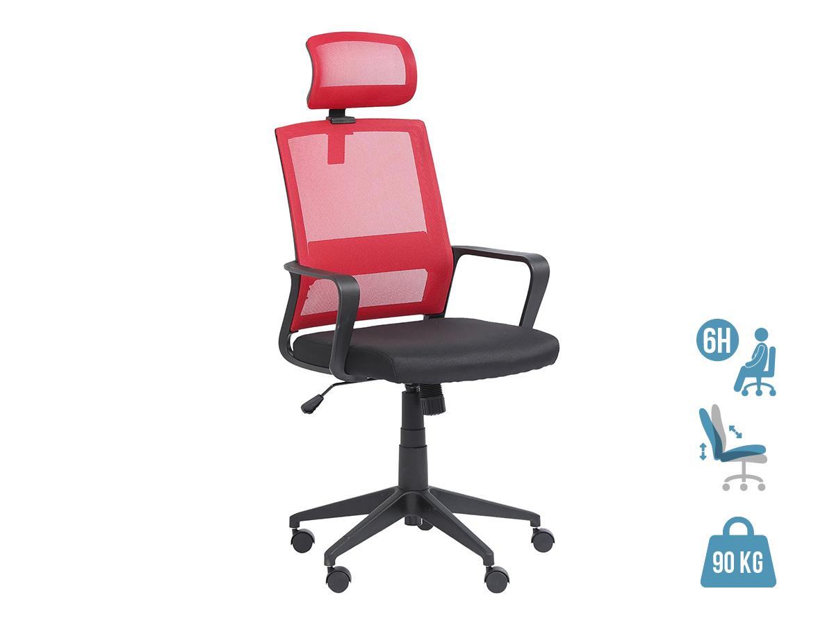 Fauteuil de bureau LIBERTY 02 - accoudoirs fixes - appui-tête réglable - noir et rouge