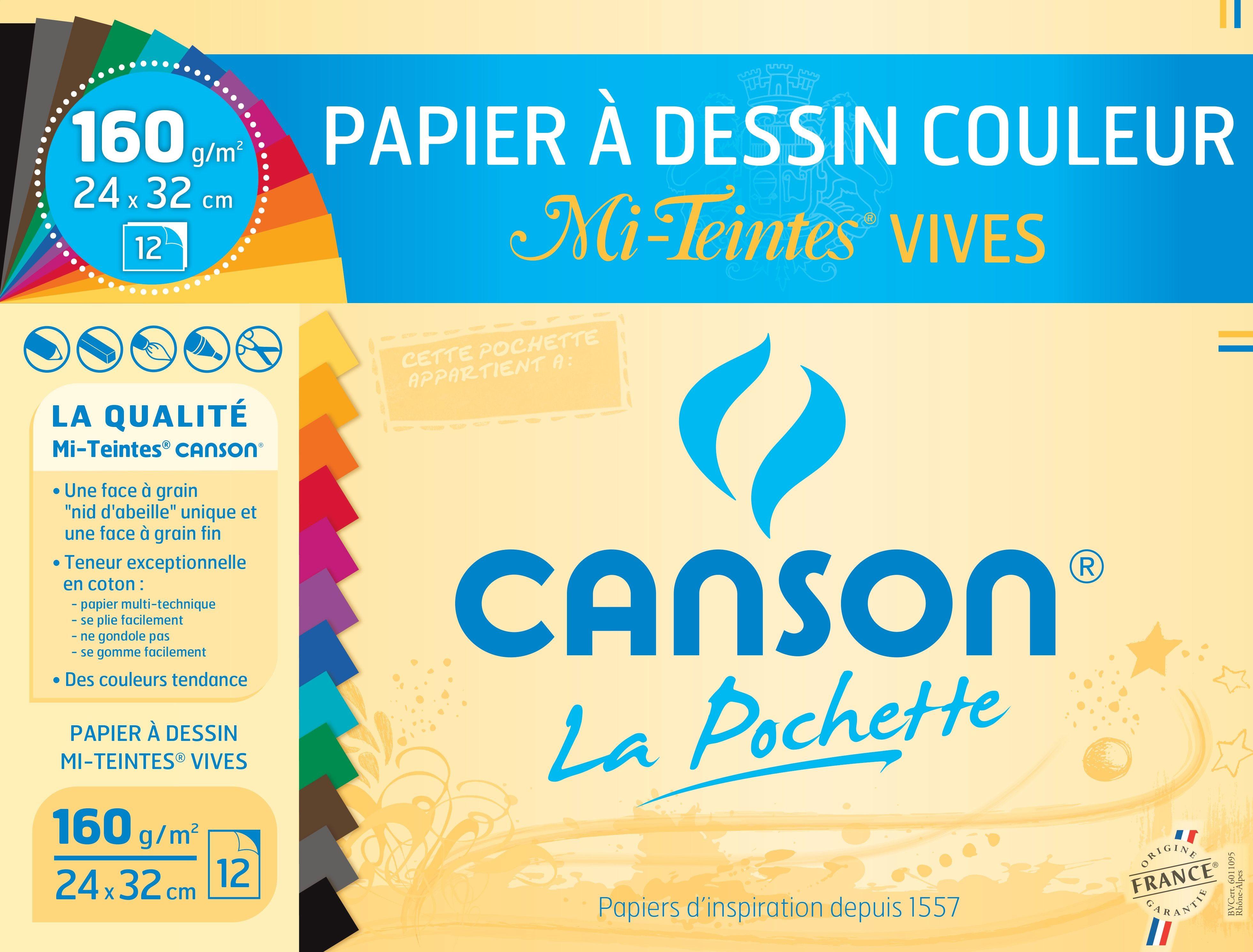 Canson - Pochette papier à dessin - 12 feuilles - 24 x32 cm - 160 gr - mi-teintes claires