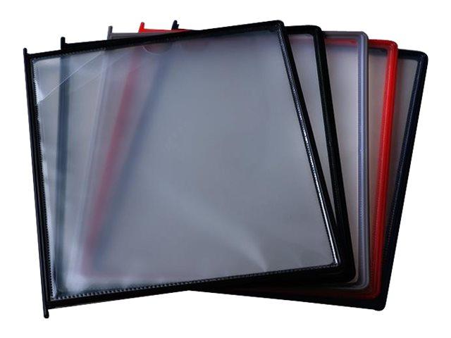 Promocome - 10 Pochettes A4 pour lutrin - cadre en plastique rigide - gris