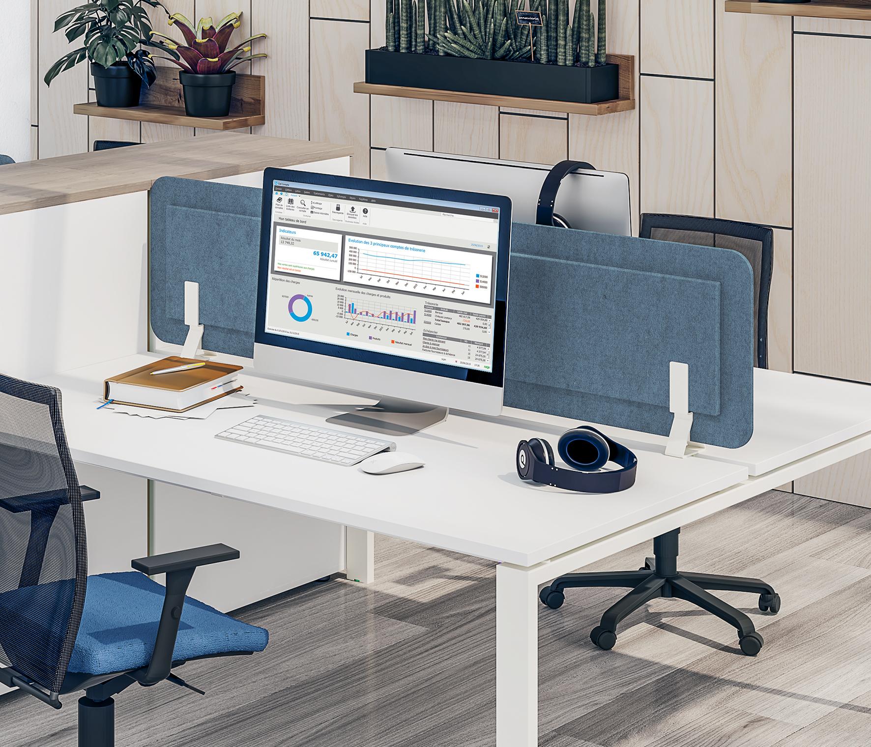 Écran de séparation acoustique pour bureau - L80 x H43 cm - bleu chiné