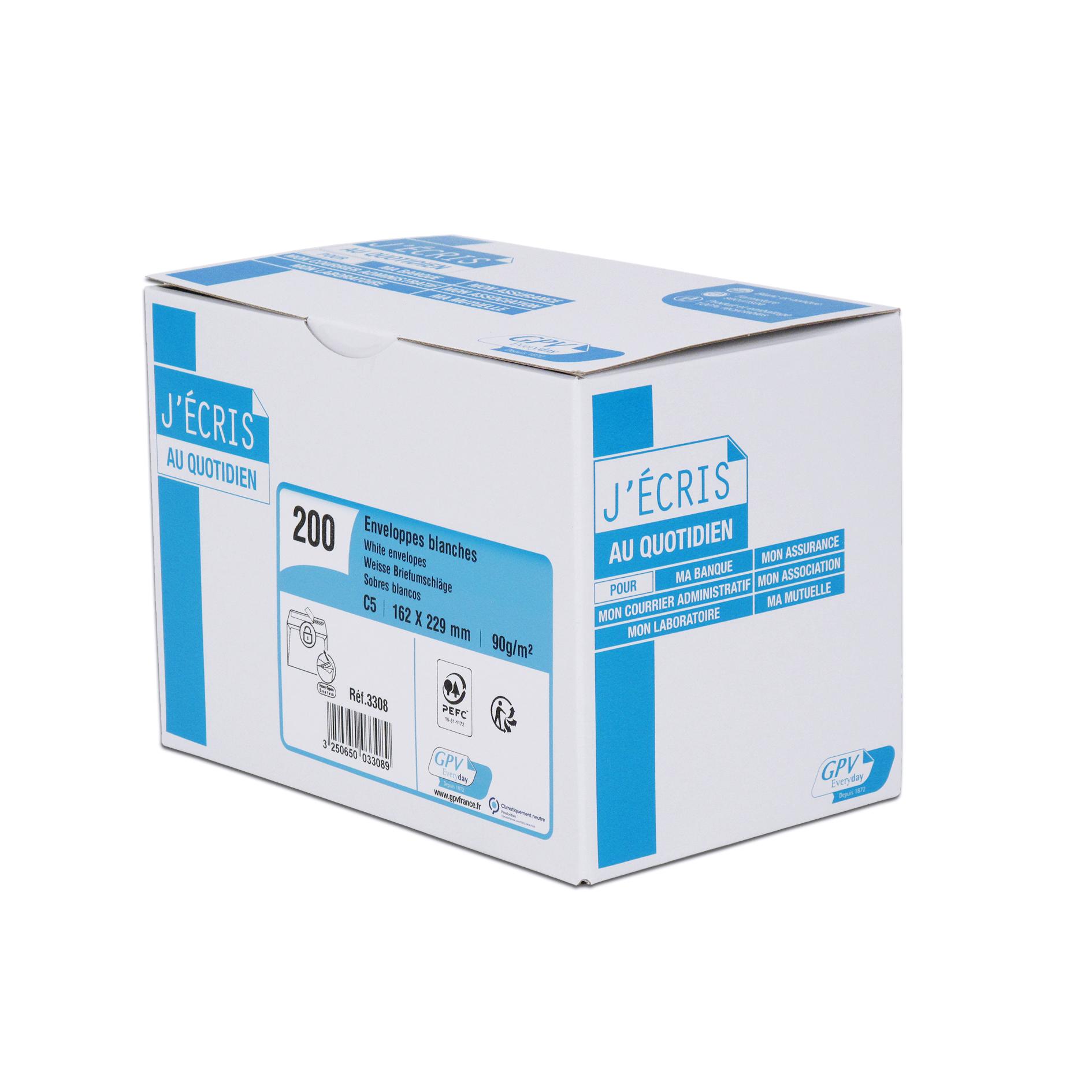 GPV - 200 Enveloppes C5 162 x 229 mm - 90 gr - sans fenêtre - blanc - bande adhésive ouverture rapide