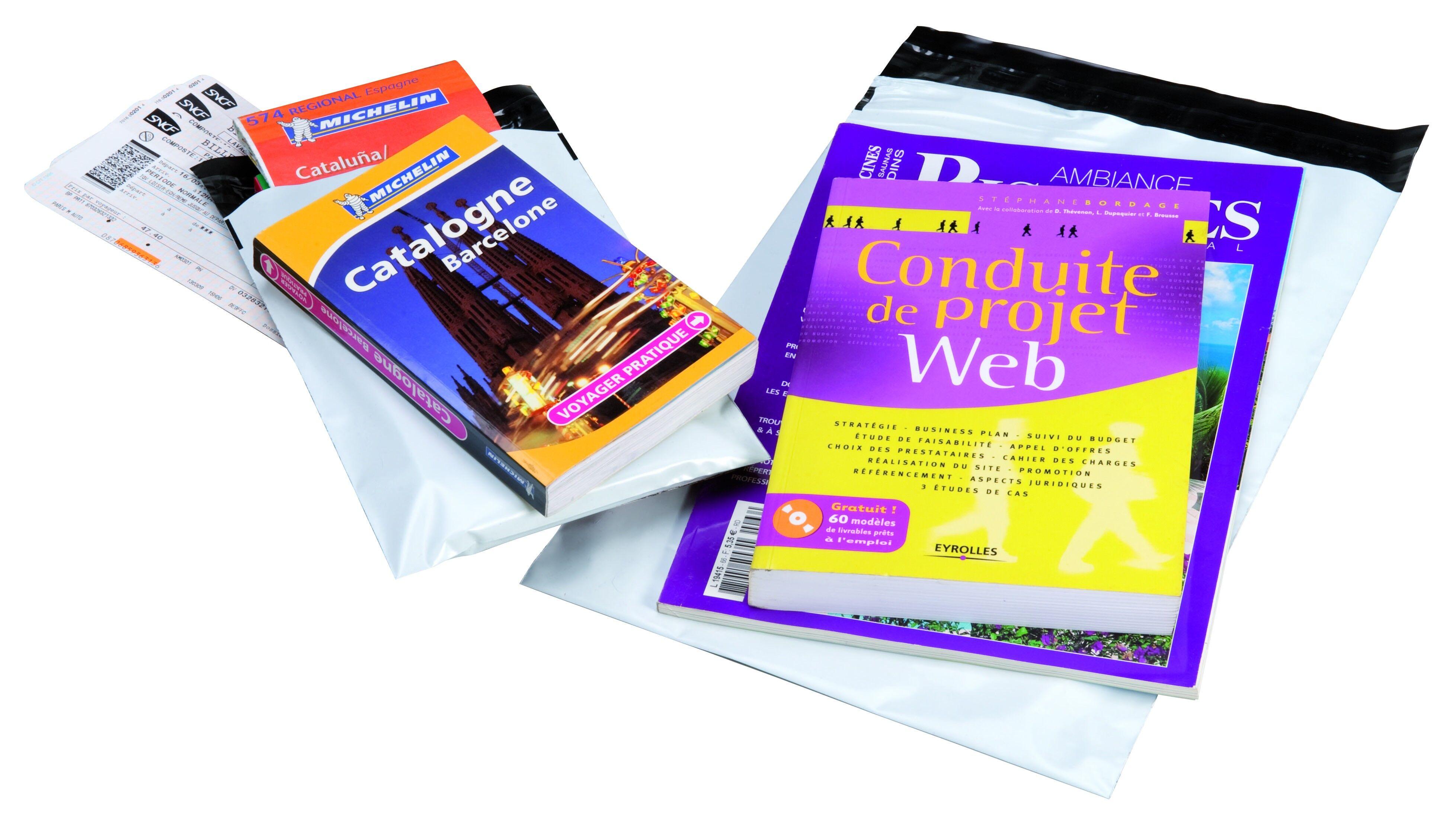 Pochette plastique - enveloppe de sécurité indéchirable - fermeture adhésive - 32 x 43 cm