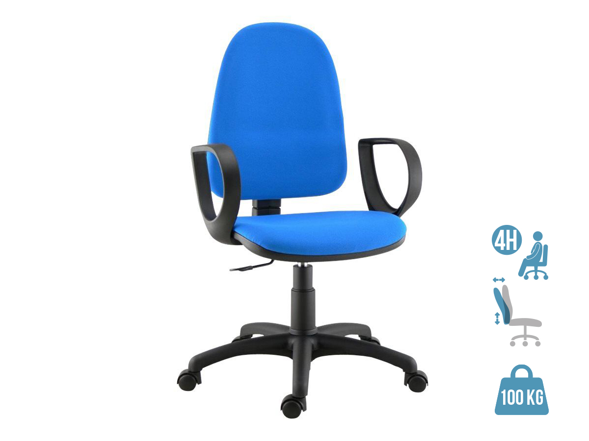 Fauteuil de bureau TORINO - accoudoirs en option - Bleu