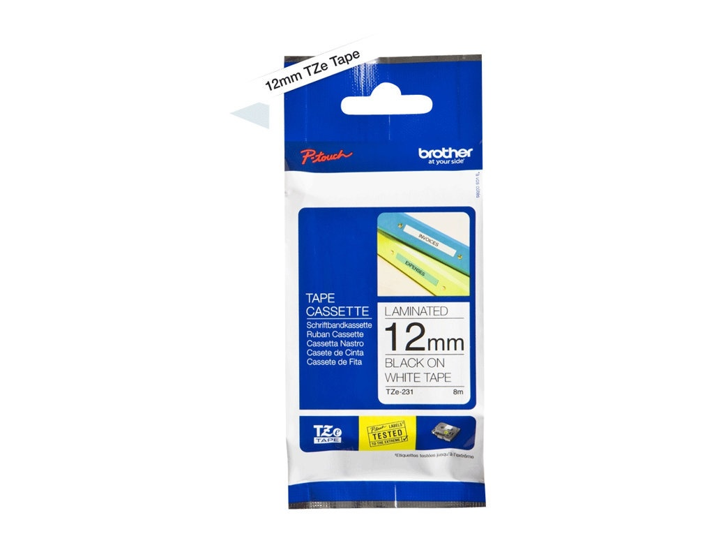 Brother TZe231 - Ruban d'étiquettes auto-adhésives - 1 rouleau (12 mm x 8 m) - fond blanc écriture noire