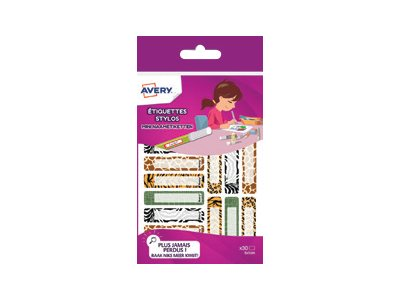 Avery - 30 Étiquettes adhésives pour stylos Léopard - 50 x 10 mm