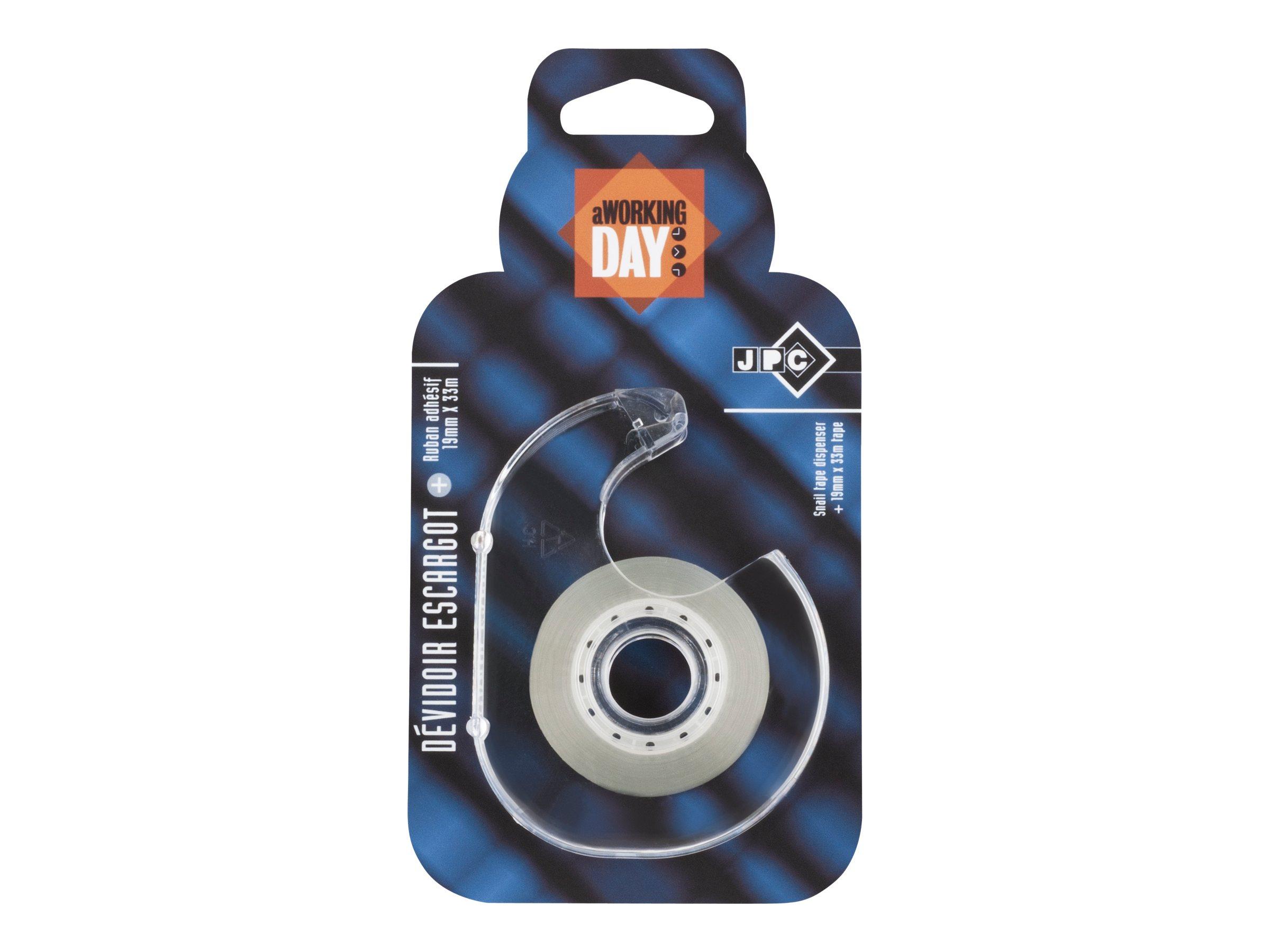 Ruban adhésif avec dévidoir escargot - 19 mm x 33 m - JPC
