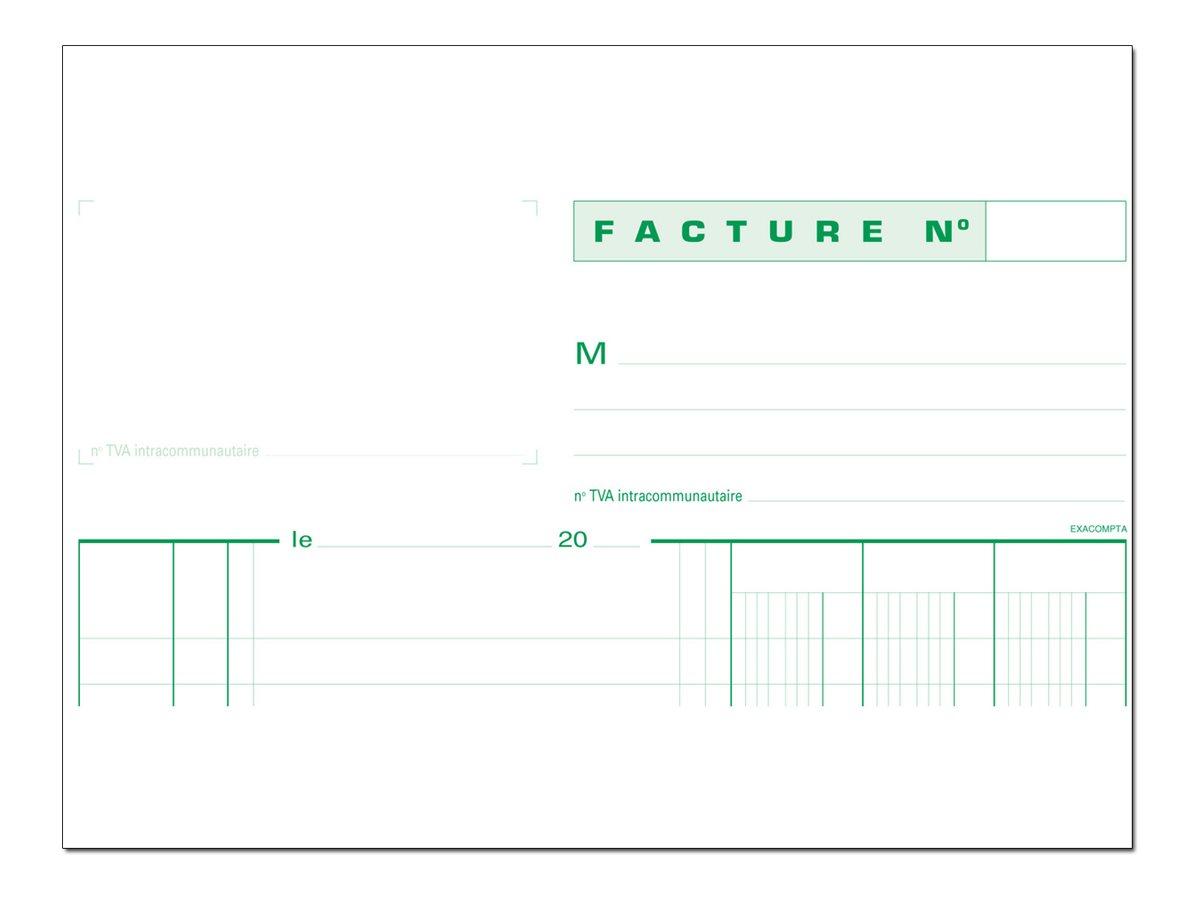Exacompta - Manifold Carnet de factures avec TVA - 50 dupli - A4