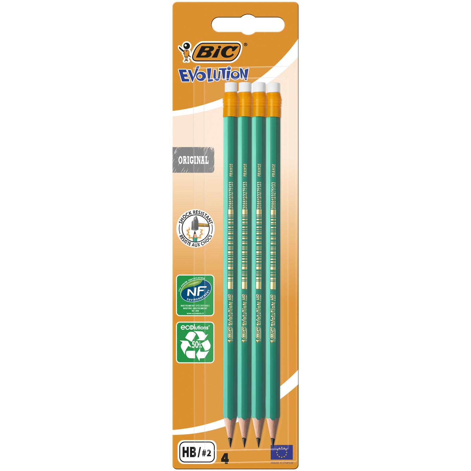 BIC ECOlutions EVOLUTION 655 - Pack de 4 Crayons à papier - HB - embout gomme