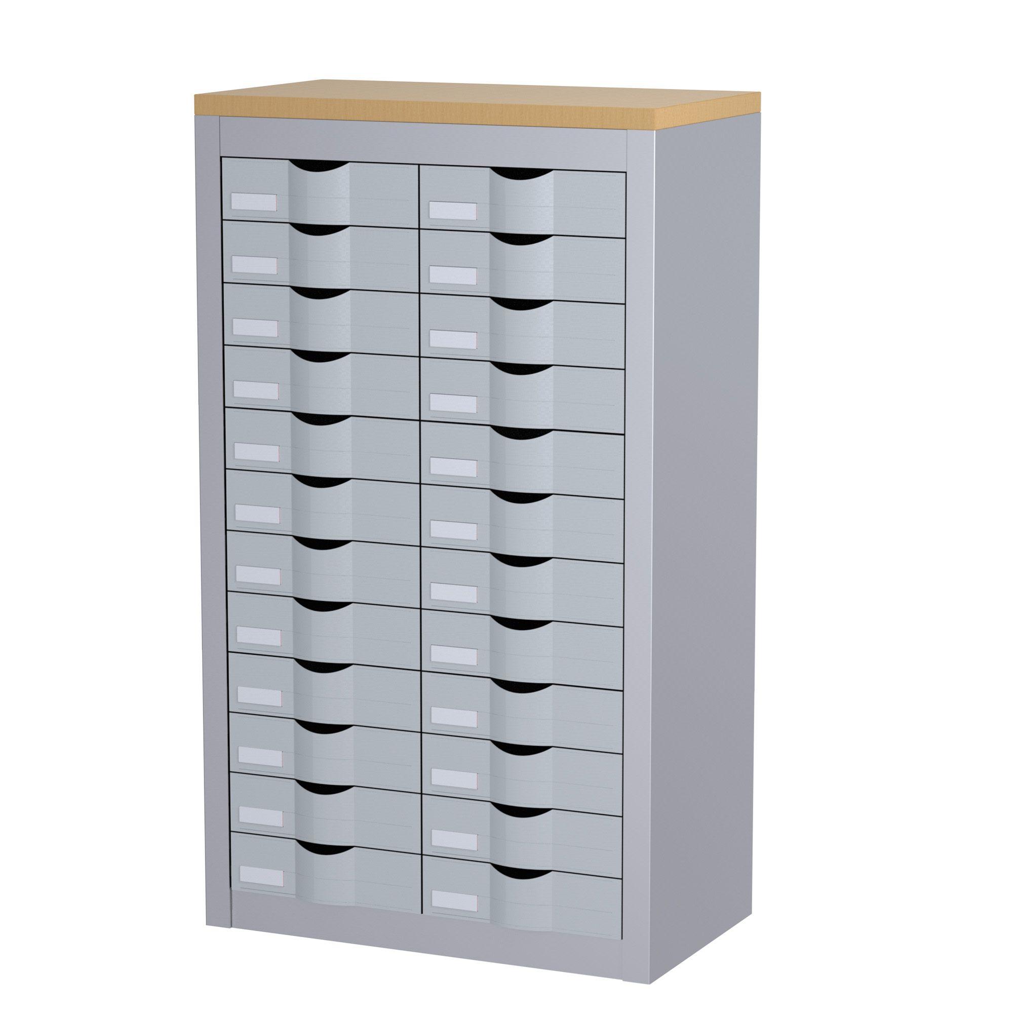 Meuble de rangement - 2 colonnes et 24 tiroirs - H106,5 x L60,5 x P33,5 cm - argent