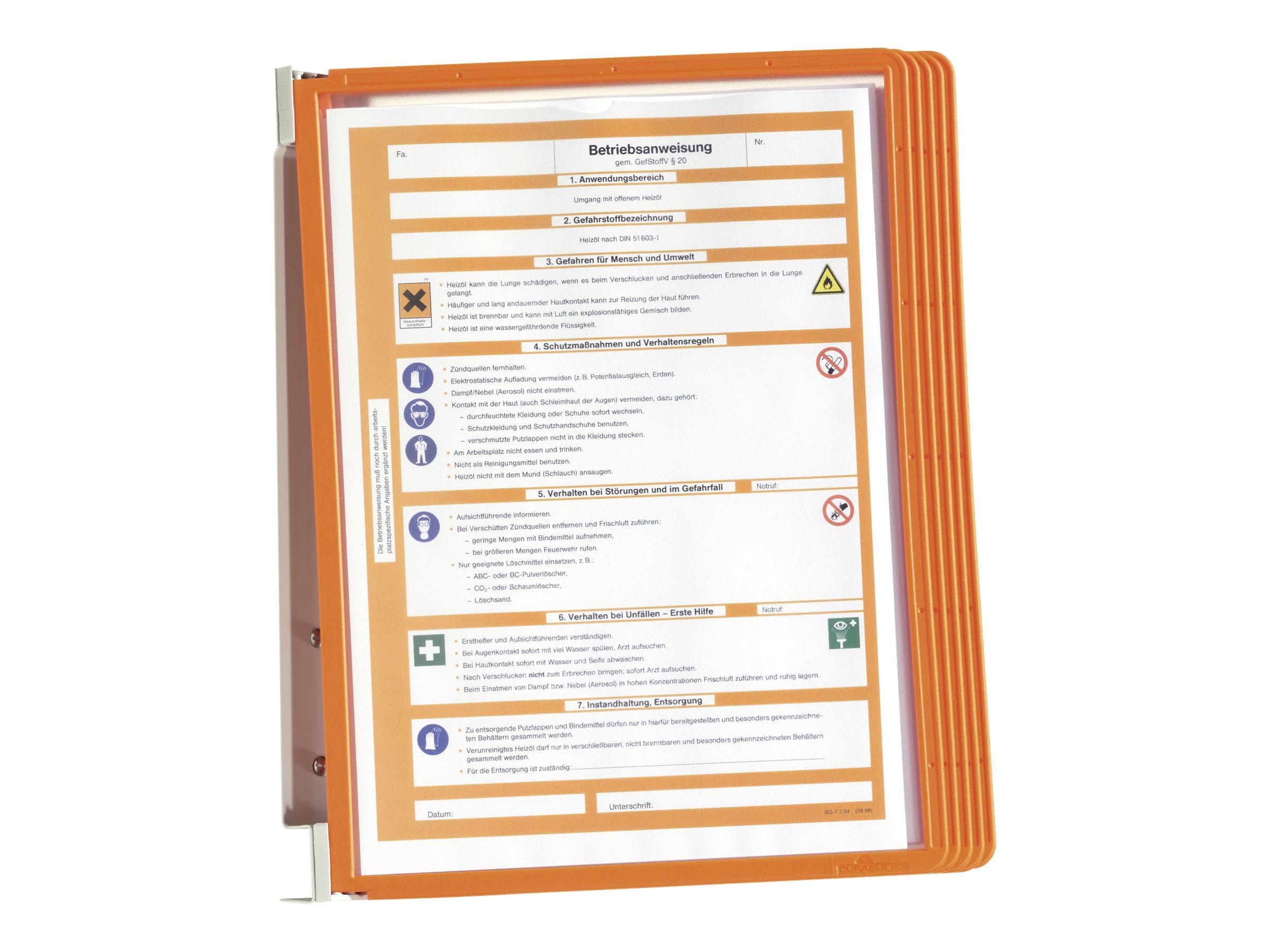 Durable Vario - Support mural métallique avec 5 pochettes A4 - orange