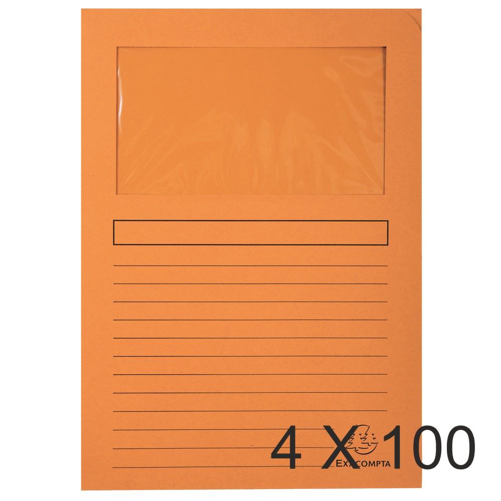 Exacompta Forever - 4 Paquets de 100 Chemises à fenêtre - 120 gr - orange