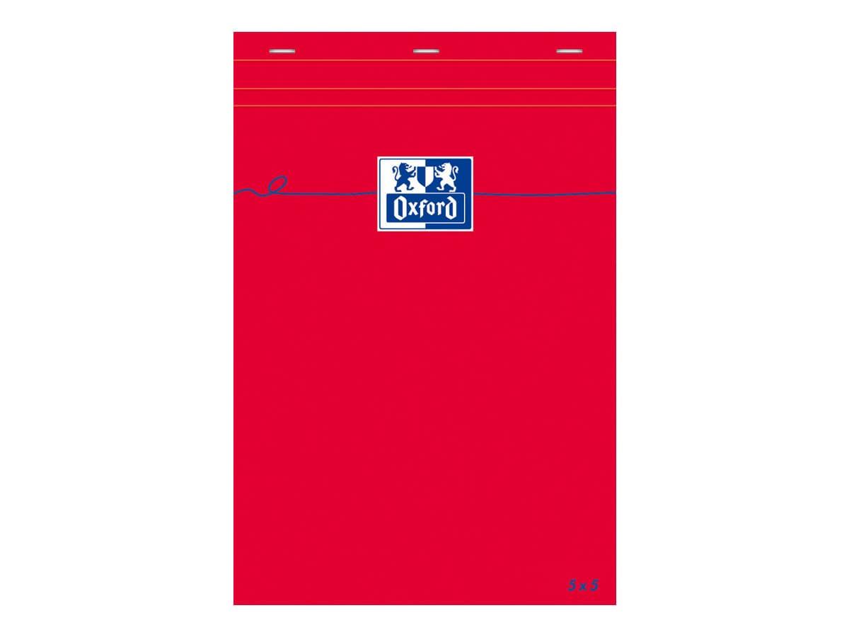 Oxford - Bloc notes - A5 - 160 pages - petits carreaux - 80G - rouge