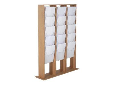 Promocome - Présentoir de journaux de sol - 3 x 5 compartiments A4 - bois foncé