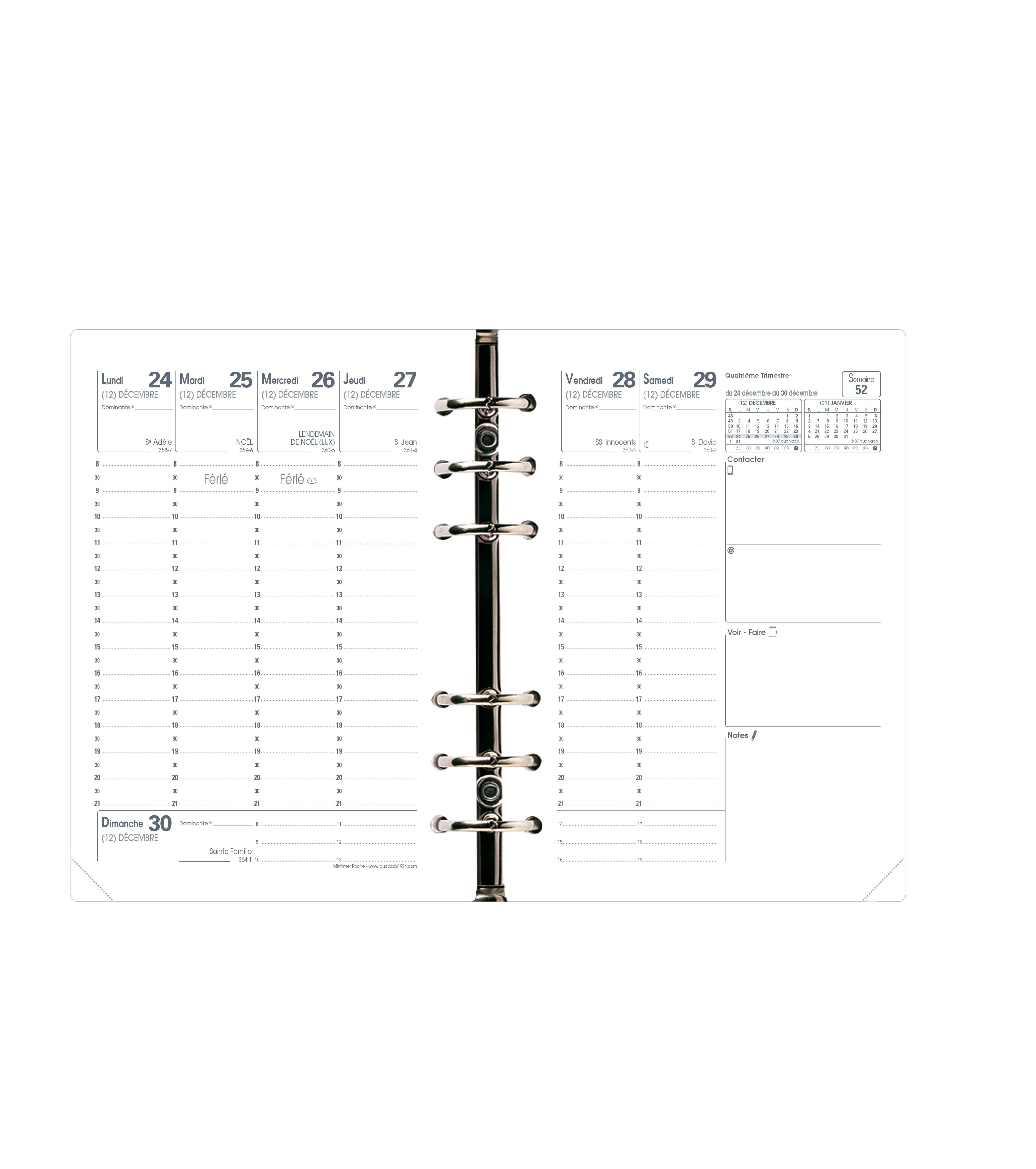Agenda Minitimer -  1 semaine sur 2 pages - 9 x 12,5 cm - Quo Vadis