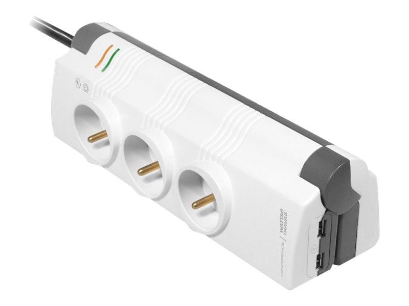 Watt&Co Multiprise parafoudre CONFERENCE - Blanche - 6 prises + 2 USB