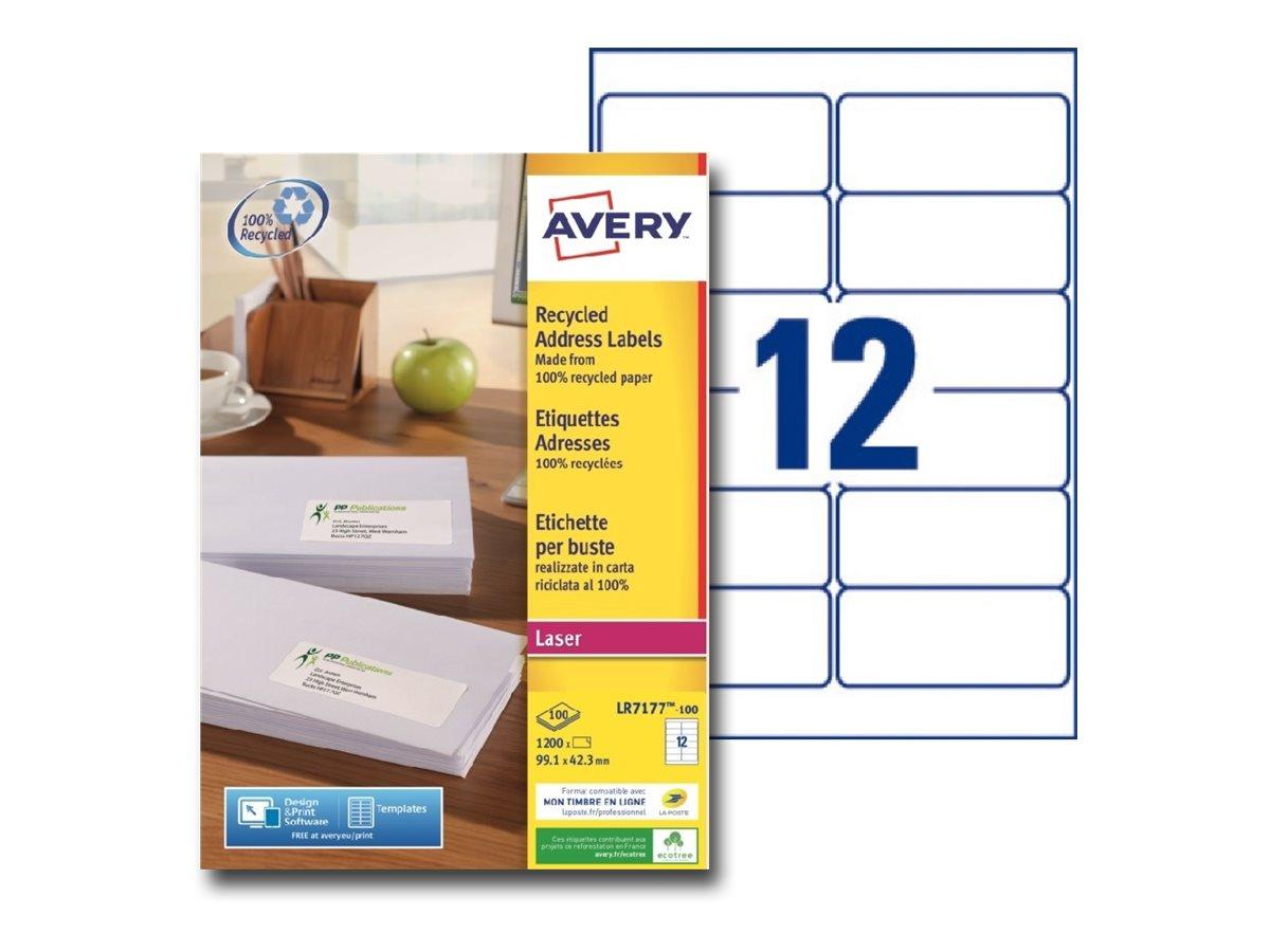 Avery - 1200 Étiquettes adresse recyclées blanches - 99,1 x 42,3 mm - Impression laser - réf LR7177-100
