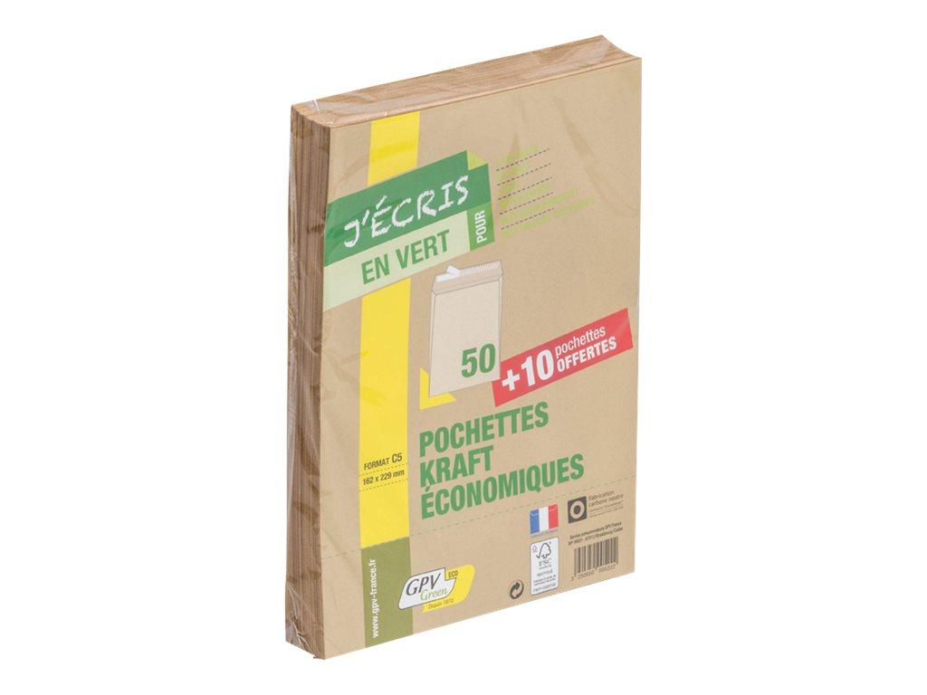 GPV Green - 50 Pochettes Enveloppes + 10 gratuites C5 162 x 229 mm - 90 gr - sans fenêtre - kraft - bande adhésive