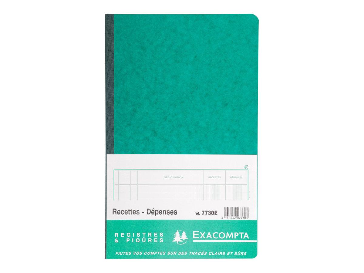 Exacompta - Registre des recettes/dépenses - 32 x 19,5 cm - 80 pages