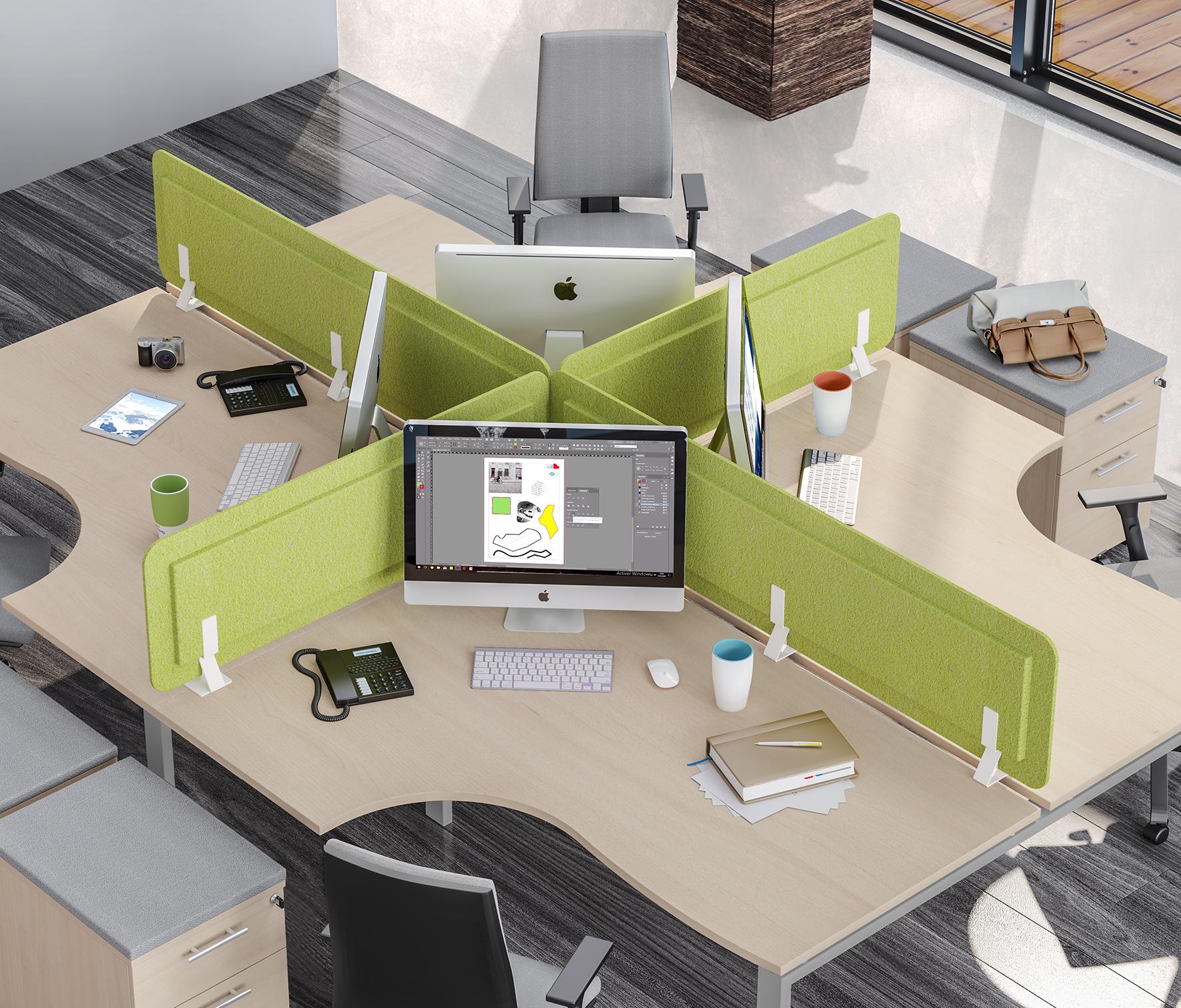 Écran de séparation acoustique pour bureau - L80 x H43 cm - vert chartreux