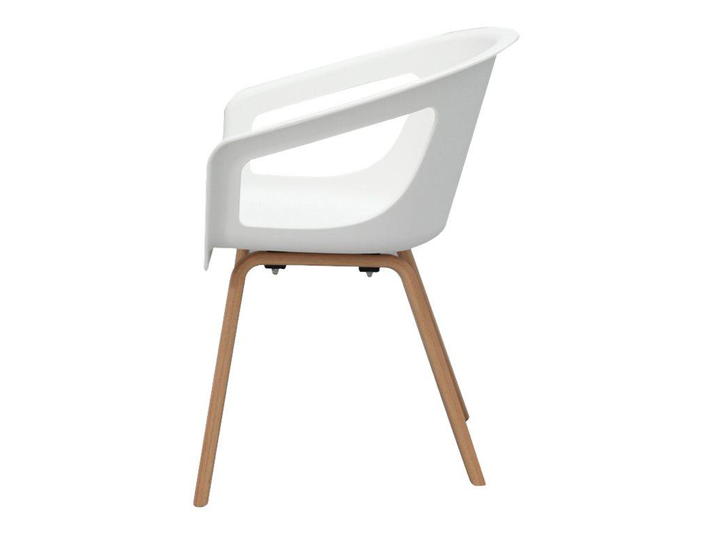 Chaise ONENNA - pieds bois - accoudoirs intégrés - coque blanche