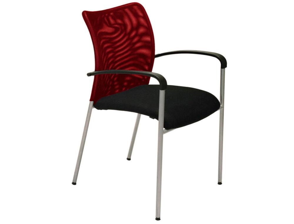 Chaise JULIA - avec accoudoirs - assise noire et dossier rouge