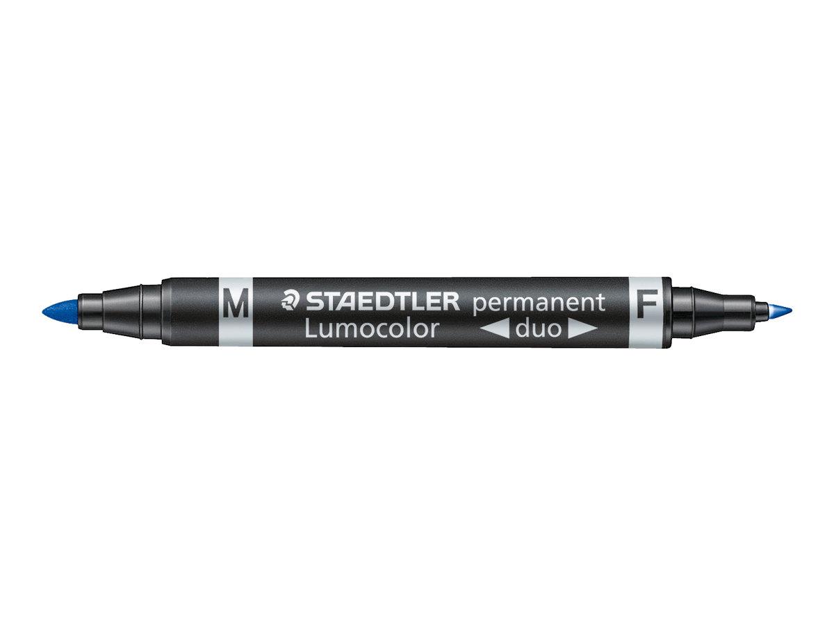 STAEDTLER LUMOCOLOR Duo - Marqueur permanent - double pointe fine et moyenne - bleu