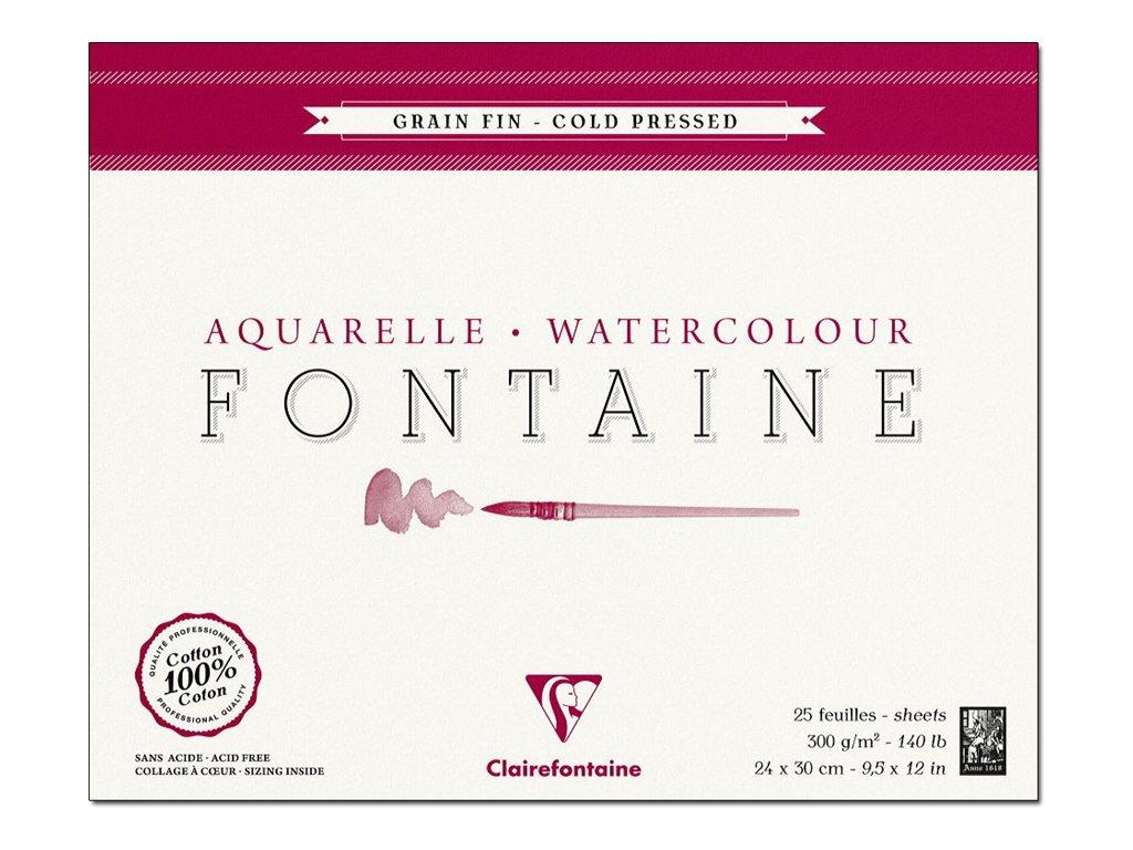 Clairefontaine Fontaine - Bloc de papier aquarelle grain fin - 24 x 30 cm - 25 feuilles - 300 g/m²