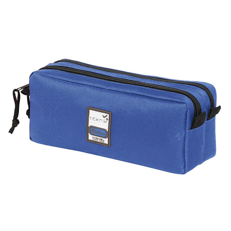 Trousse rectangulaire Teknik Double - 2 compartiments - bleu marine - Viquel