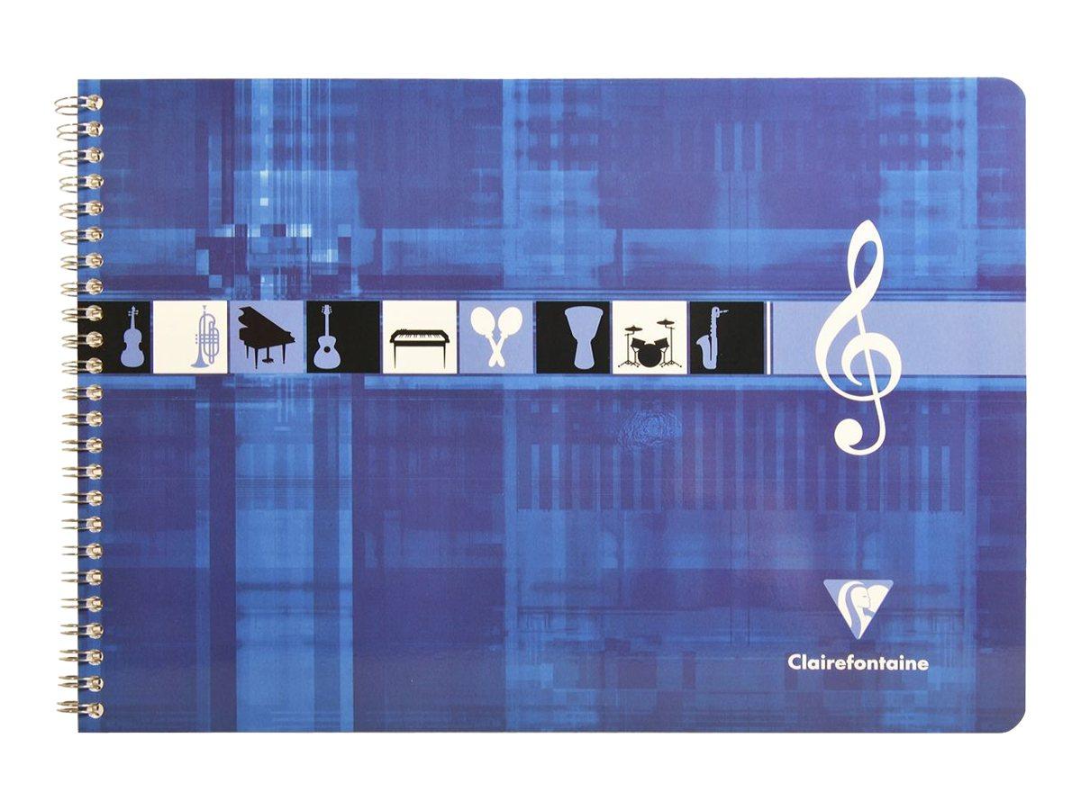Clairefontaine - Cahier de musique spiralé A4 (21x29,7 cm) - format à l'italienne - 50 pages