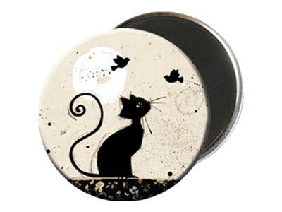 Kiub Bug Art - Magnet rond en verre - Chat Oiseaux