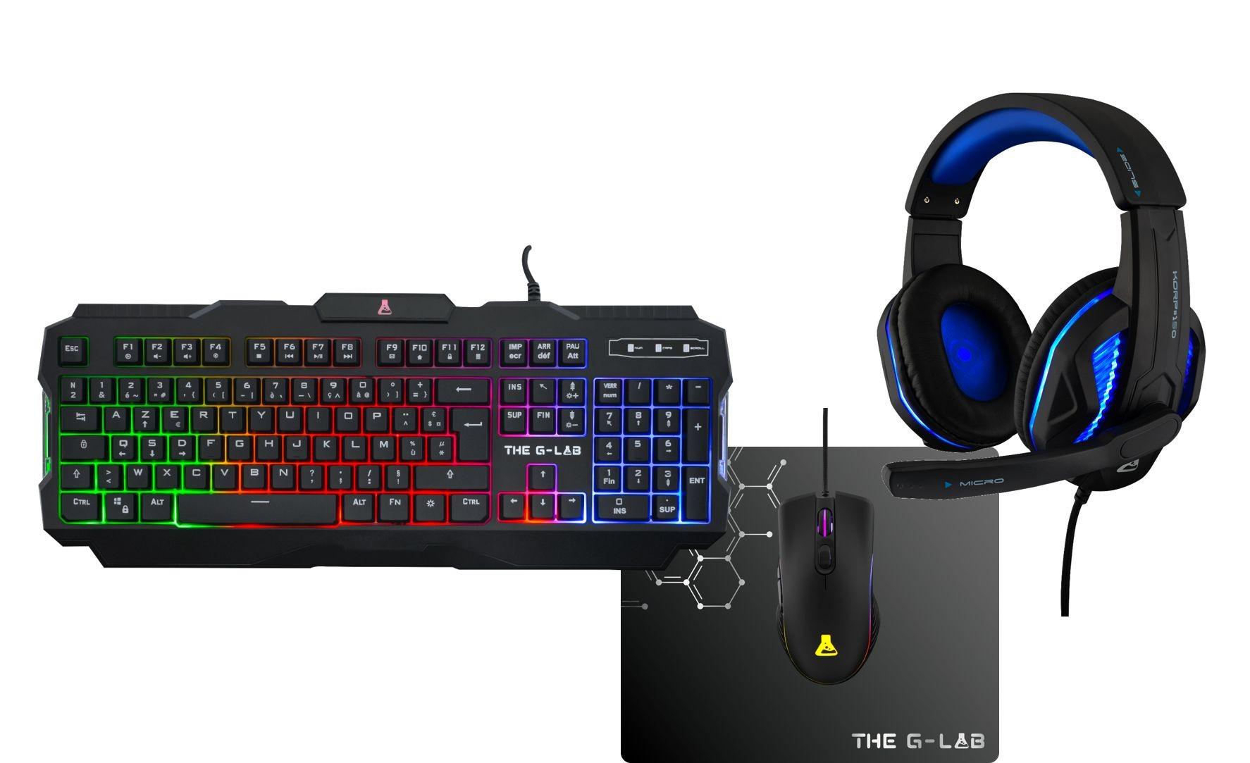 Pack gaming G-LAB  ARGON -  clavier gamer filaire + souris + casque + tapis
