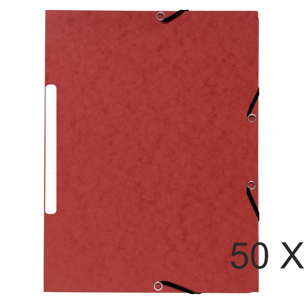 Exacompta - 50 Chemises recyclées à 3 rabats - A4 - rouge