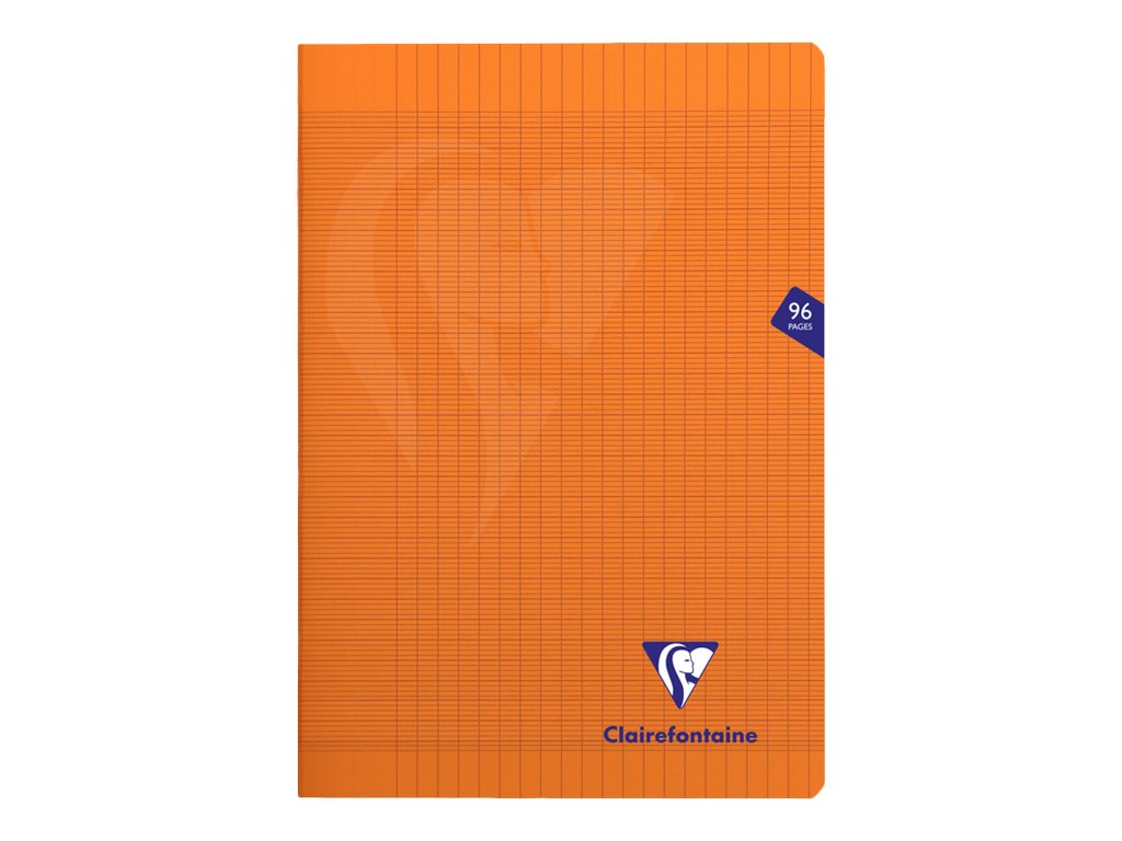 Clairefontaine Mimesys - Cahier polypro A4 (21x29,7 cm) - 96 pages - grands carreaux (Seyes) - orange