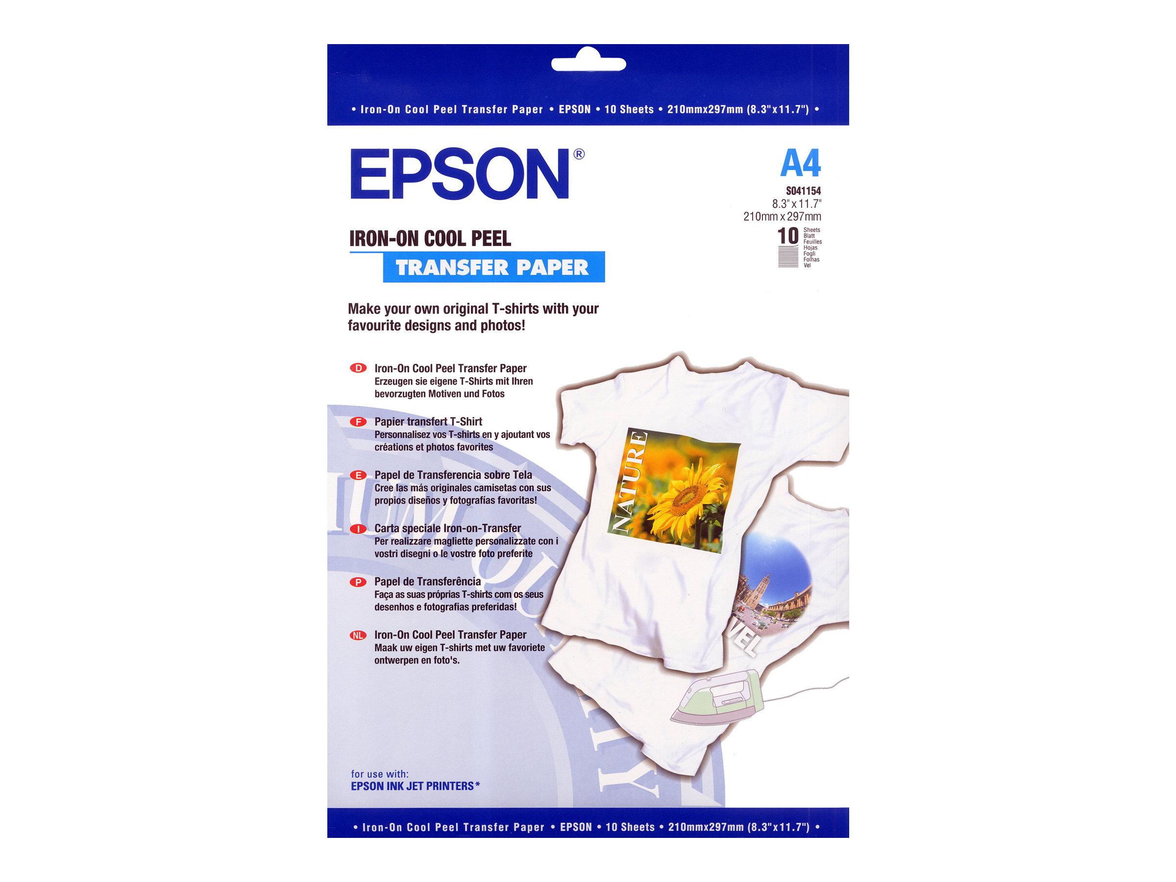 Epson - Papier transfert sur T-shirt - 124 g/m² - 10 feuilles A4 - impression jet d'encre