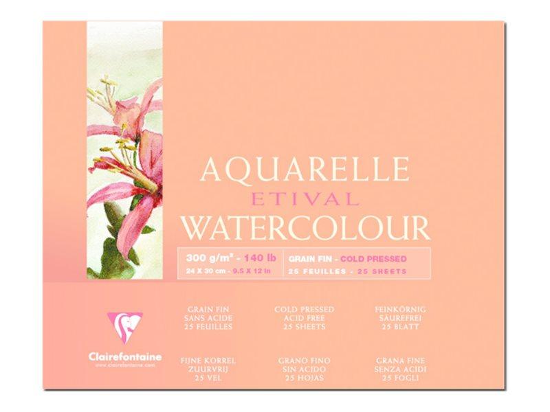 Clairefontaine Etival - Bloc de papier aquarelle - 25 feuilles 24 x 30 cm - 300 g/m²