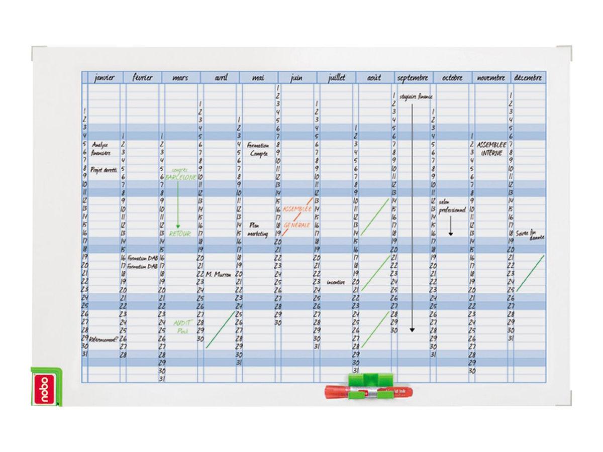 Nobo Performance - Planning hebdomadaire magnétique - effaçable à sec - 90 x 60 cm