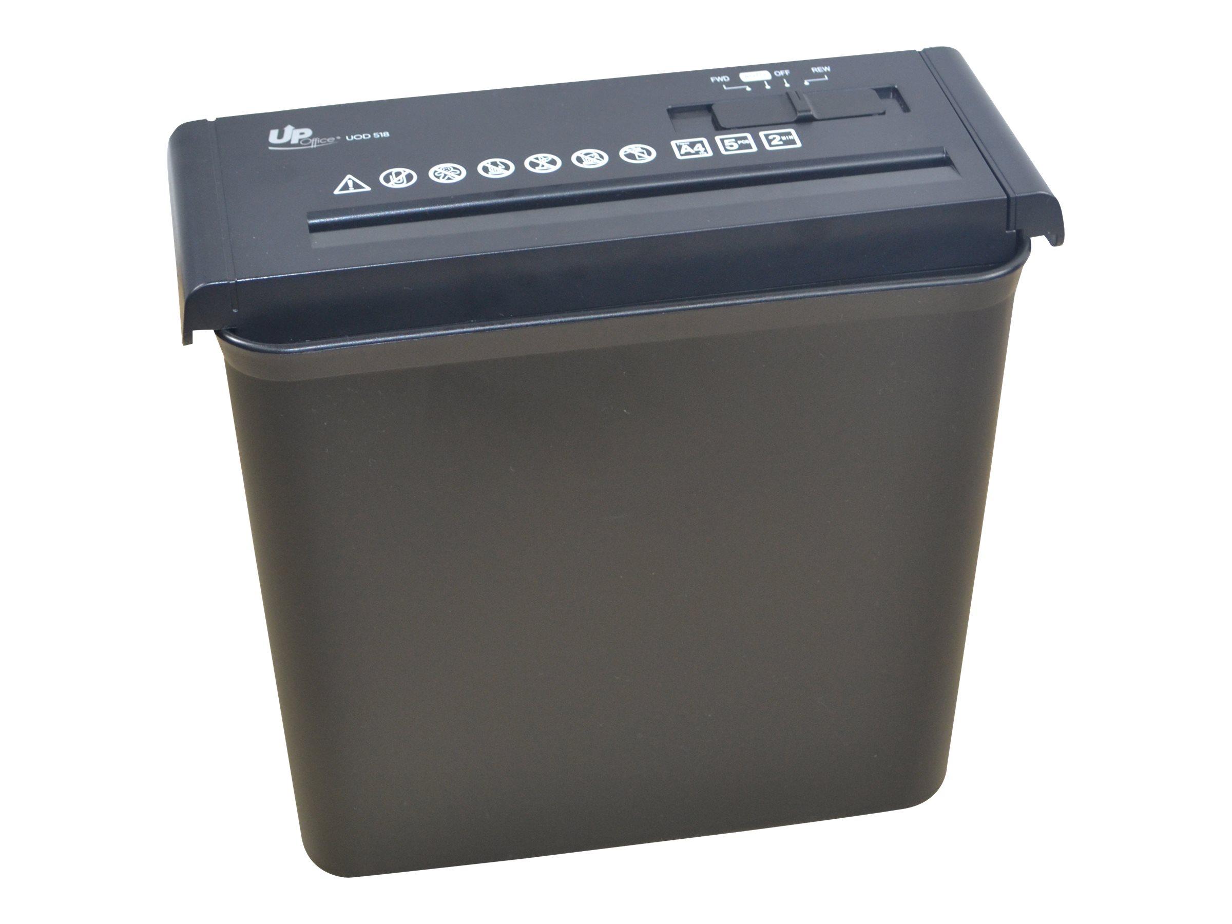 UP-Office UOD 518 - destructeur de documents coupe droite - 5 feuilles - Corbeille 10 litres