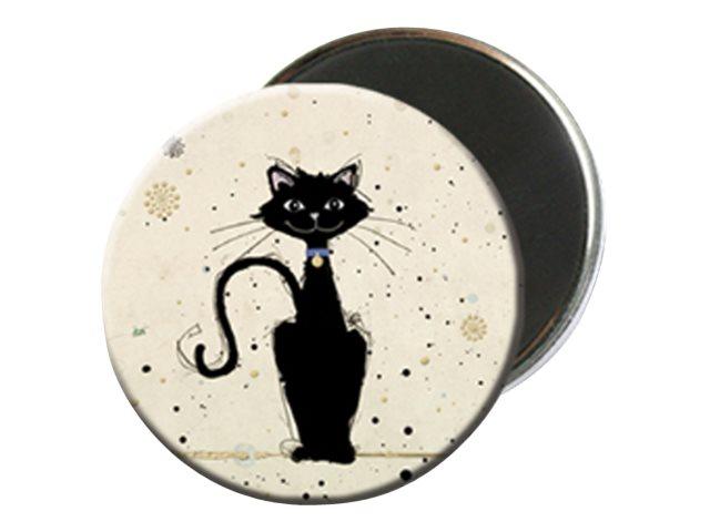 Kiub Bug Art - Magnet rond en verre - Chat assis