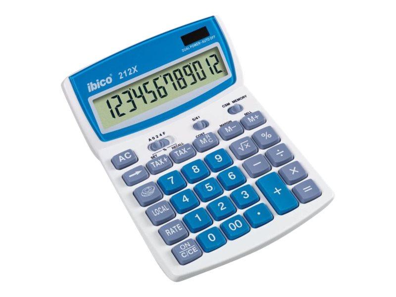 Calculatrice de bureau Ibico 212X - 12 chiffres - alimentation batterie et solaire