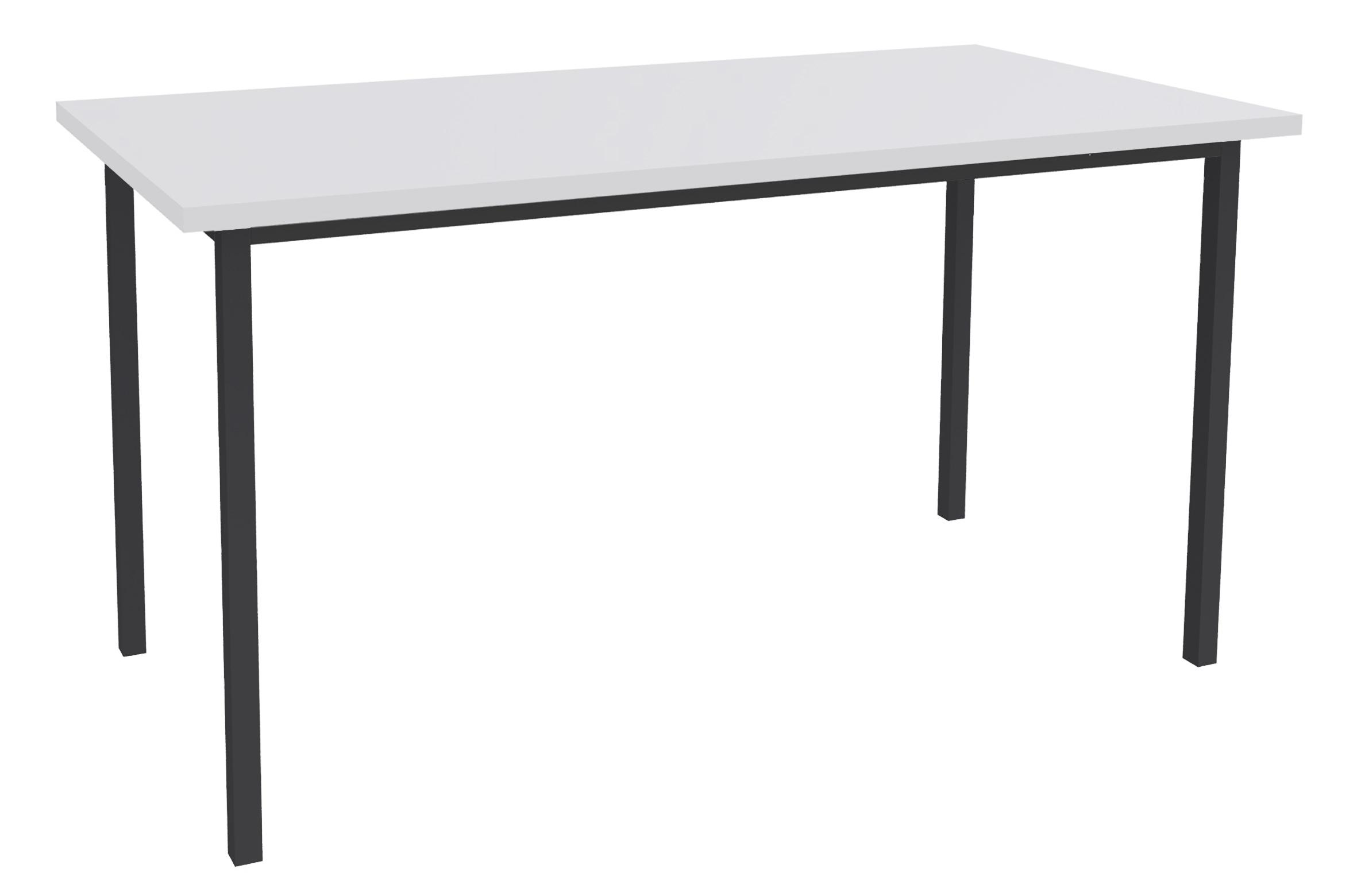 Table de réunion Rectangulaire - 120 x 60 cm - Pieds anthracite - blanc perle