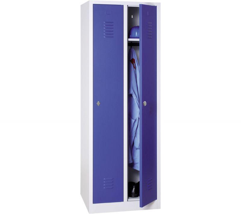 Vestiaire industrie propre monobloc 2 colonnes - H180 x L60 x P50 cm - gris/bleu