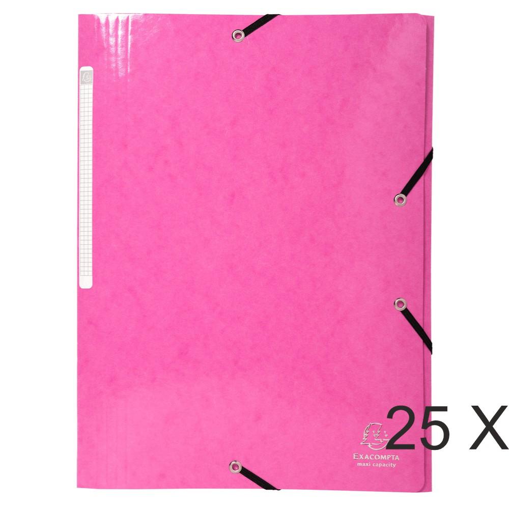 Exacompta Iderama - 25 Chemises à rabats maxi capacity - rose (gaufrées pelliculées)