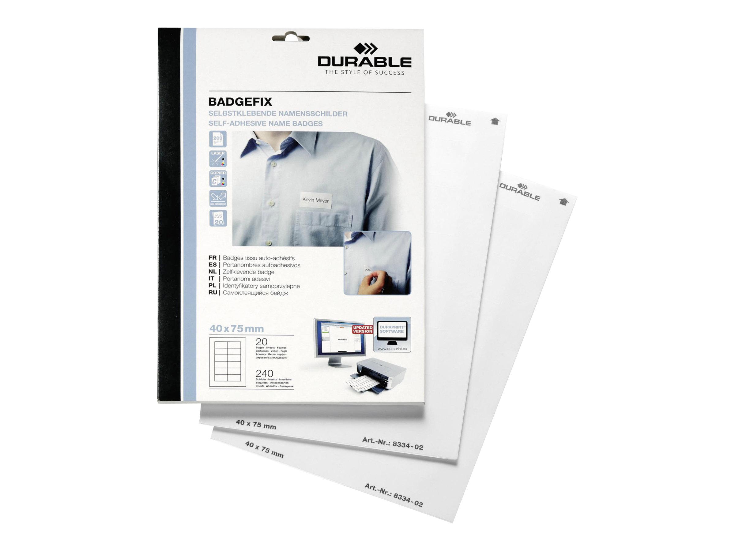 Durable - 240 Étiquettes adhésives pour badges textiles - blanc - 40 x 75 mm