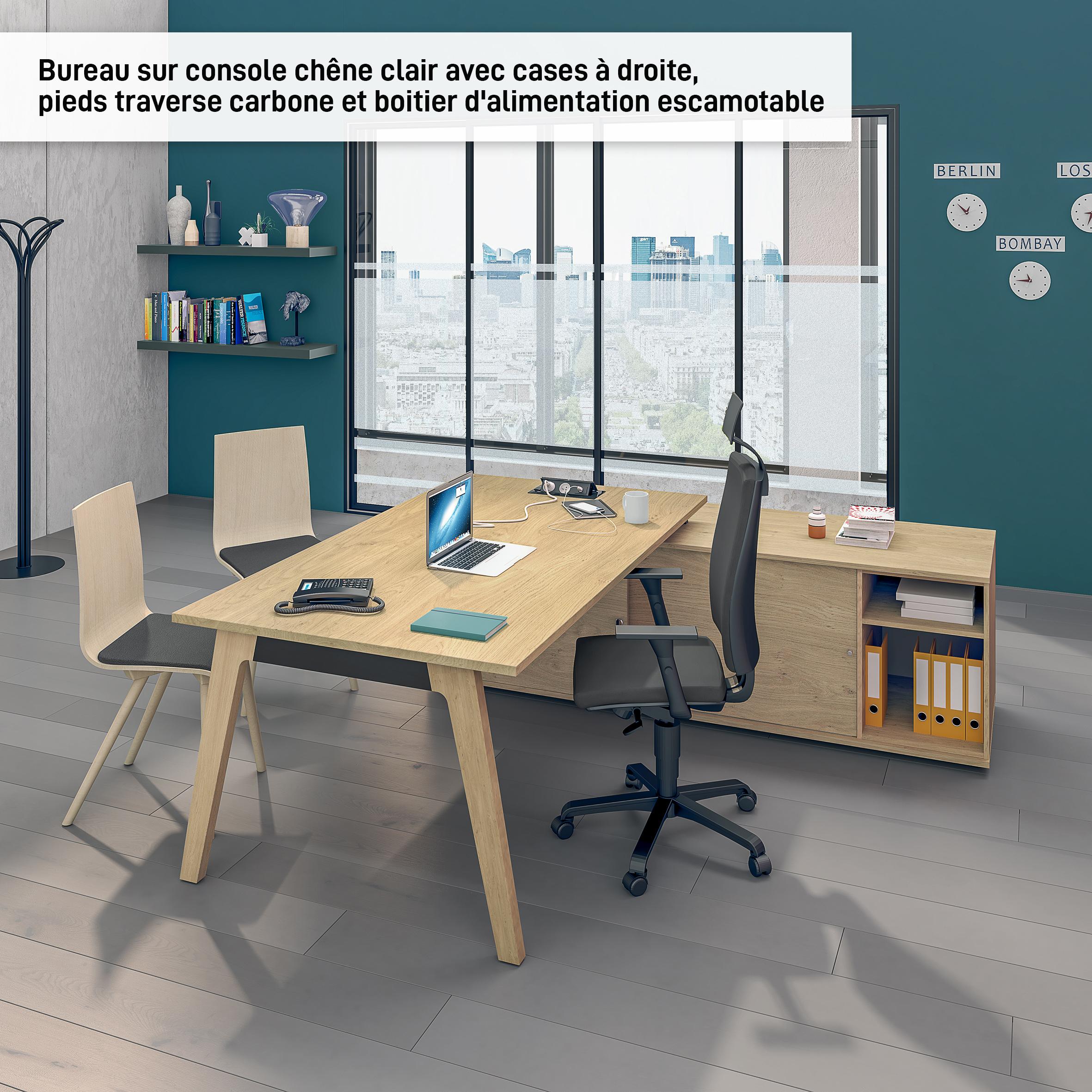 Bureau WOODY Manager - L210 x P100 x H72,5 cm - console retour à gauche L200 x P60 cm - pieds carbone - plateau imitation Chêne clair