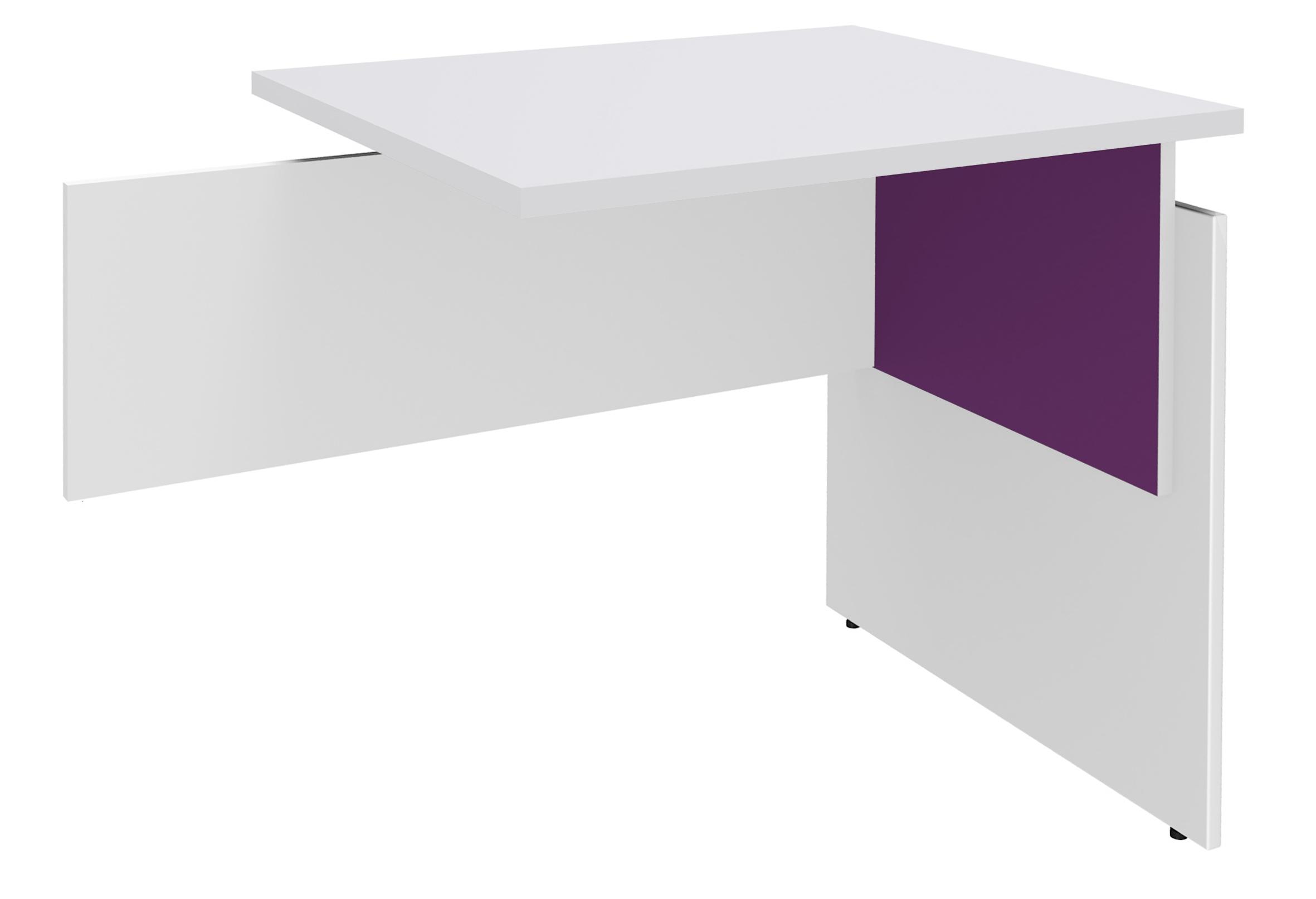 Retour direct pour Bureau INEO - Réglable en hauteur - L80 x H74/78/82 x P60 cm - Pieds Blanc/violine - plateau blanc perle