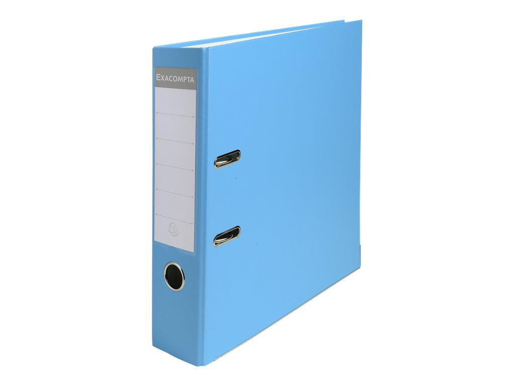Exacompta - Classeur à levier - Dos 80 mm - A4 - pour 600 feuilles - bleu clair
